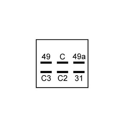 Electric Warning signal flasher unit 12 volts / 6 bornes / W 2+1+1 / 8x21