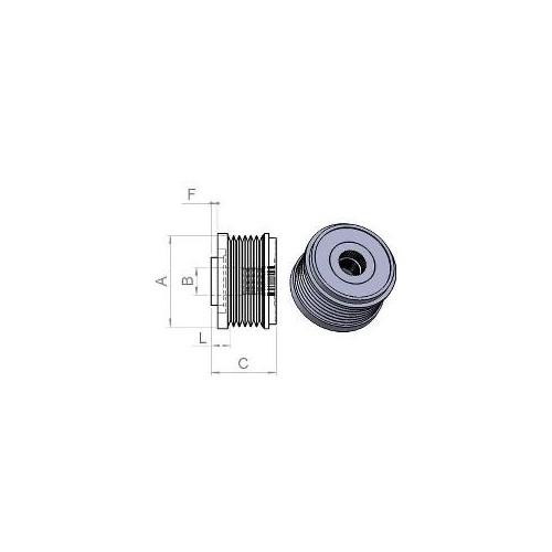 Poulie pour alternateur Bosch 0124425013 / 0124425029 / 0124425037 / 0124425071 / 0124525081