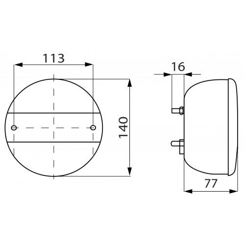 Feu arrière rond multifonction avec éclaireur de plaque