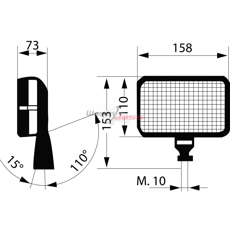 Phare de travail rectangulaire 152 x 104 mm H3 avec grille