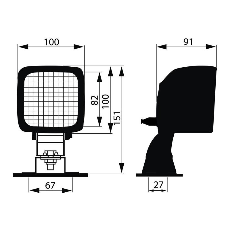 Work Lamp rectangular 73x73mm H3