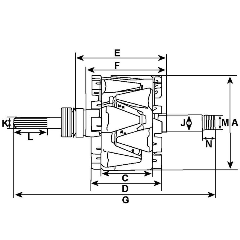Rotor pour alternateur Bosch 0120489060 / 0120489303 / 0120489643