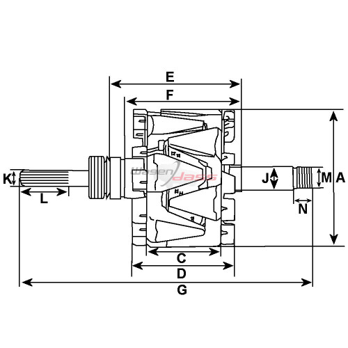 Rotor for alternator BOSCH 0120400806 / 0120400807 / 0120400808