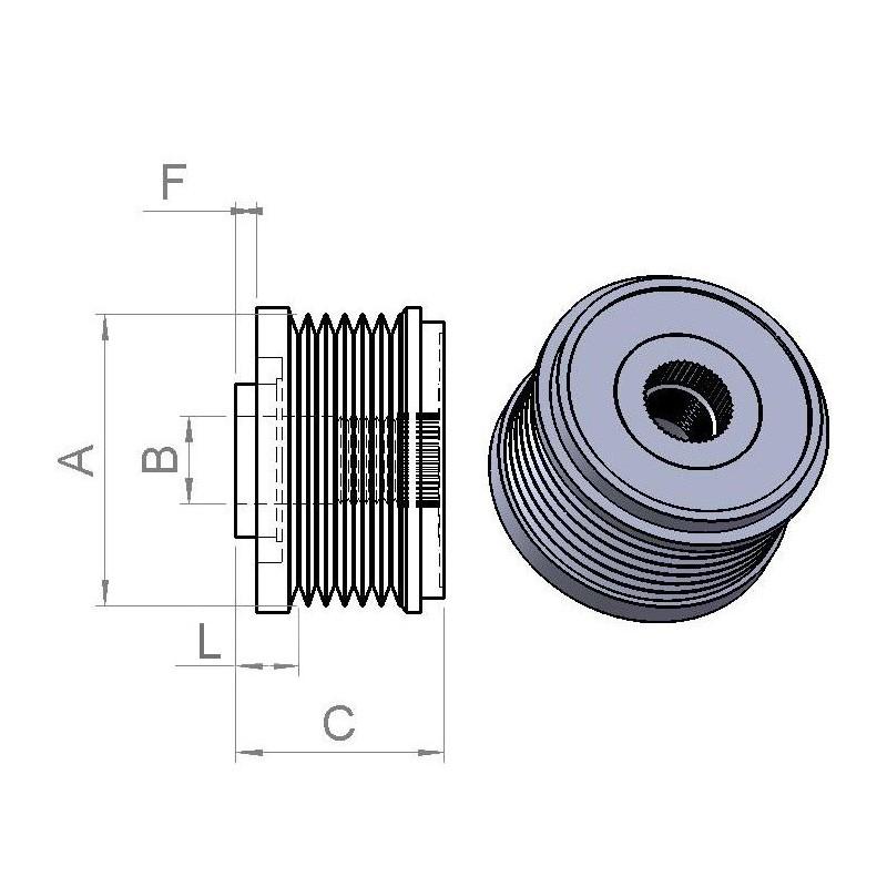 Poulie débrayable pour alternateur INA F-2388822.01 / F-238822.02