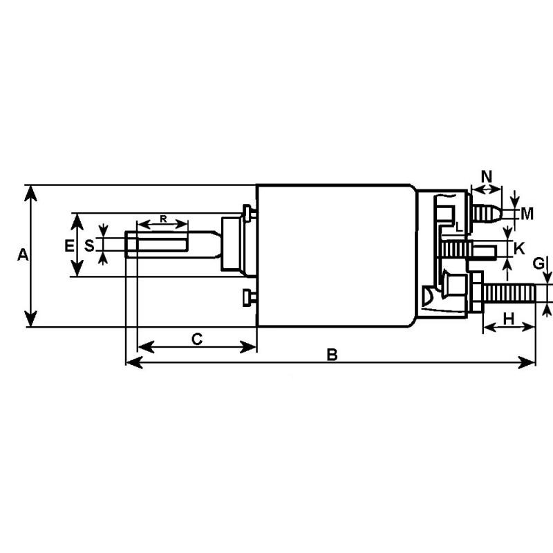 Solenoid for starter BOSCH 0001400016 / 0001401011 / 0001401012