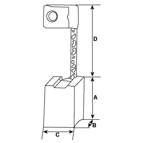 Brush set /- JHTSX-8M for starter HITACHI S108-56/S114-150/S114-151/S114-156A/S114-91