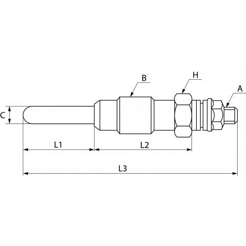 Bougie de préchauffage remplace BERU GN018 / BOSCH 0250212009 / NGK Y-515J / Y-732J