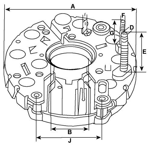 Pont de diode pour alternateur Bosch 0120400728 / 0120488256 / 0120488277,