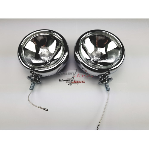 Set of 2 chrome-plated auxiliary lights 120mm diameter