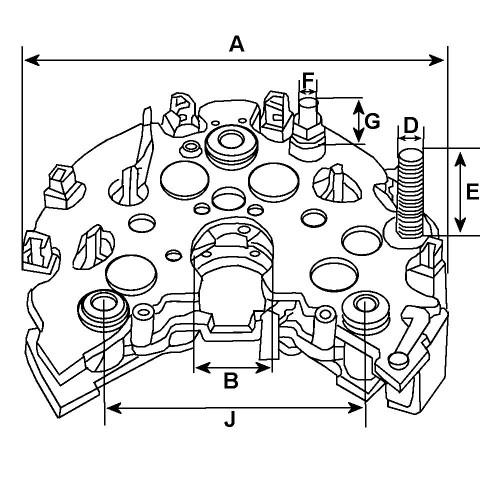 Pont de diode pour alternateur valéo 2542637 / 2542751 / 2542819