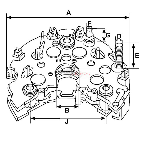 Pont de diode pour alternateur Bosch 0120000015 / 0120000037 / 0124515040