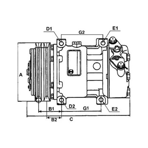 Compresseur de climatisation remplace SANDEN sd6v12-1416 / SD6V121416D / SD6V121416F