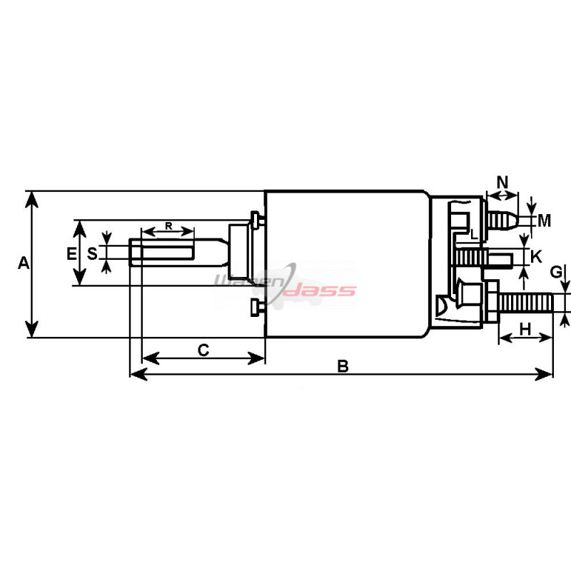 Solenoid for starter MITSUBISHI M2T50171 / M2T50371 / M2T50381