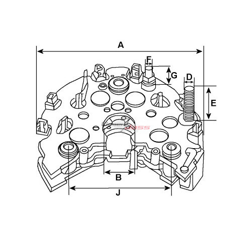 Pont de diode pour alternateur Denso 104210-2710 / 104210-3523 / 104210-3880 / 104210-5370