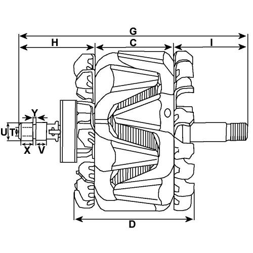 Rotor for alternator BOSCH 0120000005 / 0120000014 / 0121715001 / 0121715003