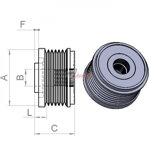 Pulley for alternator DENSO 104210-2780 / 104210-5020 / 104210-5021