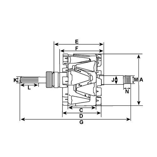 Rotor for alternator BOSCH 0120000015 / 0120000037 / 0124525008 / 0124525009