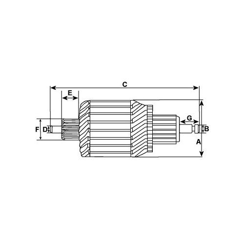 Armature for starter Magneti marelli 63280040 / 63280041 / Denso 428000-1380