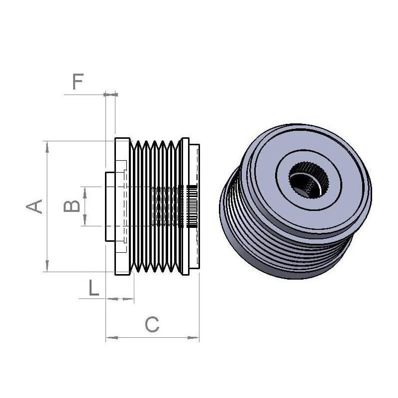 Freewheel pulley for alternator Opel 1202118 / 1202264 / 13500187