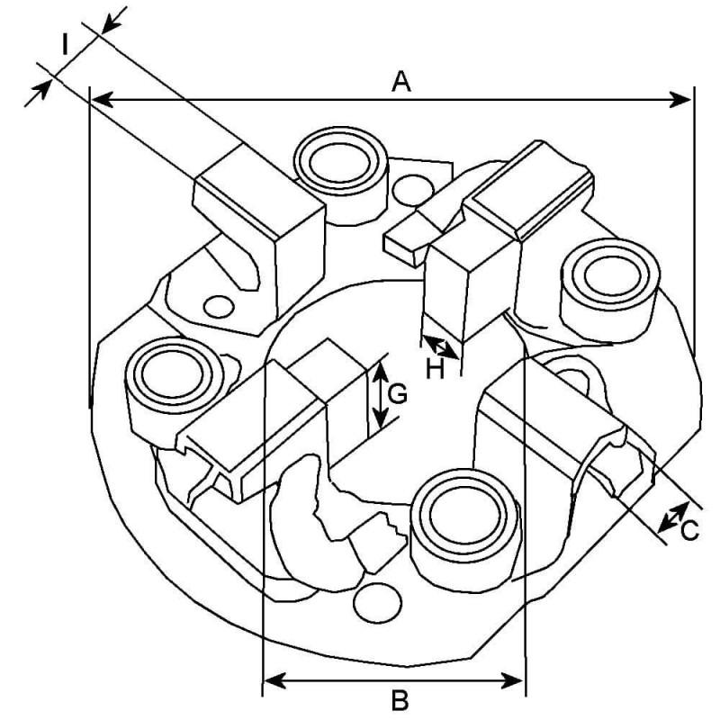 Porte balais pour démarreur Valéo D13HP605 / D13HP607 / D13HP608