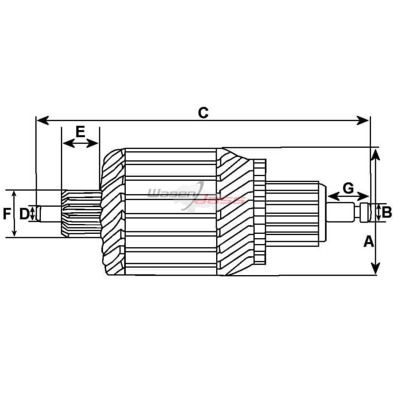 Armature for starter Valéo D6RA10 / D6RA100 / D6RA11 / D6RA12 / D6RA21