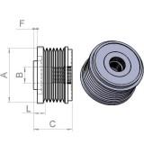 Freewheel Pulley INA for alternator Bosch 0124515062 / 0124515088 / 0124515198