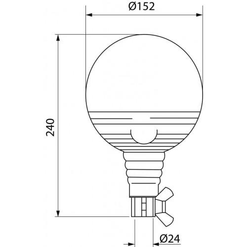 Gyrophares boule orange 24 volts H1 montage iso din a